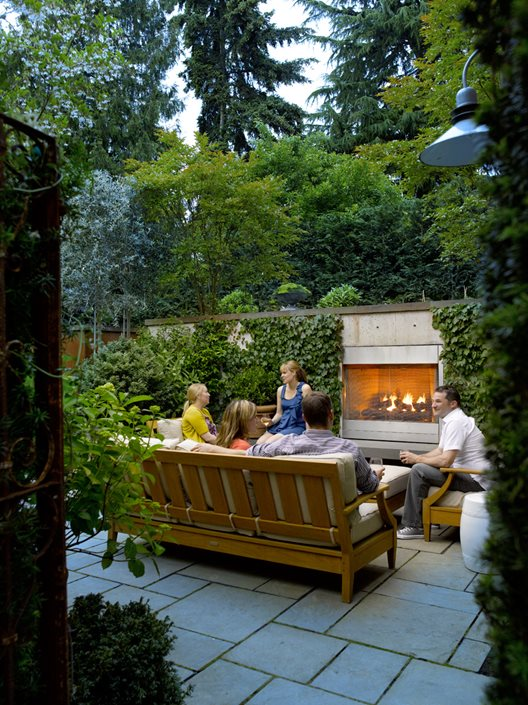 Elegant Small Garden, Garden Fireplace Scot Eckley Inc. Seattle, ...