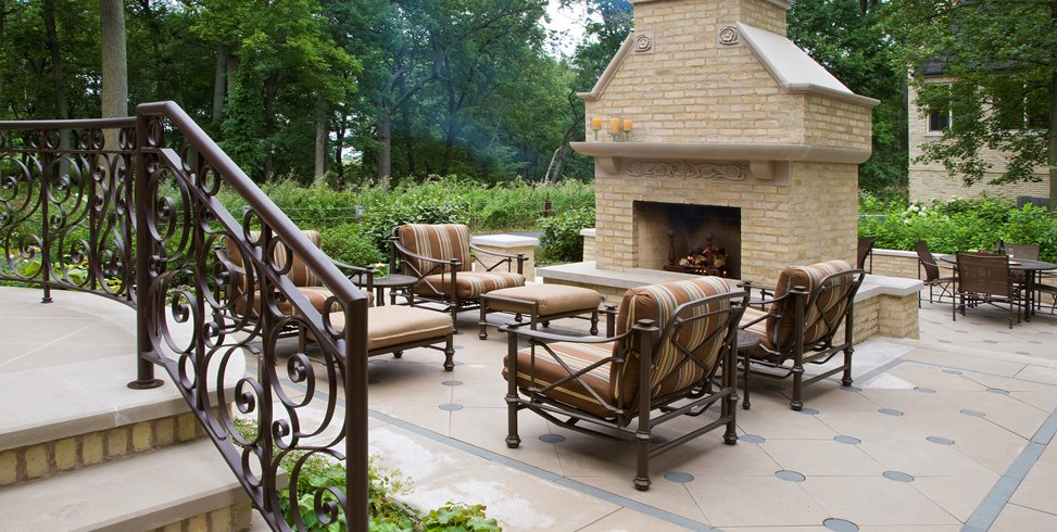 Outdoor Fireplace, Patio Fireplace Mariani Landscape Lake Bluff, IL