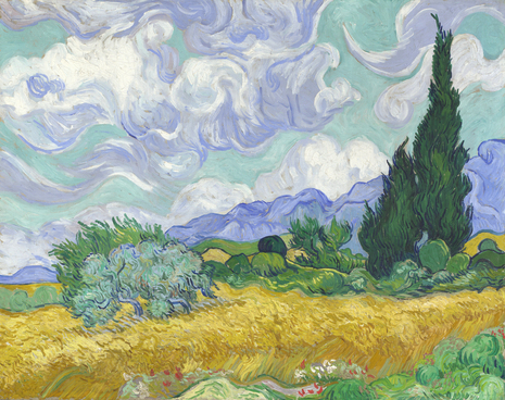 Van Gogh's A Wheatfield, with Cypresses