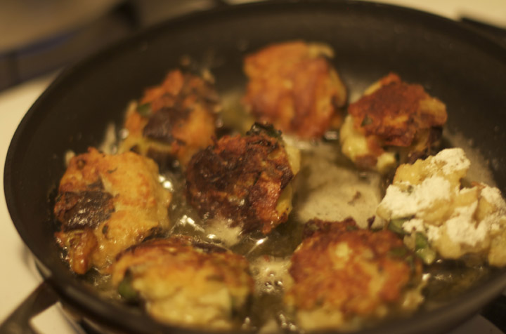 frying eggplant balls
