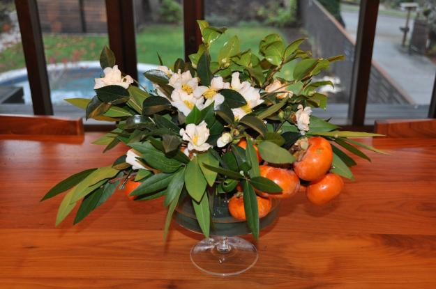 bay leaf persimmon centerpiece