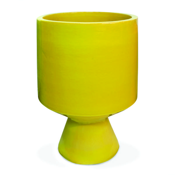 Garden Design yellow glazed container