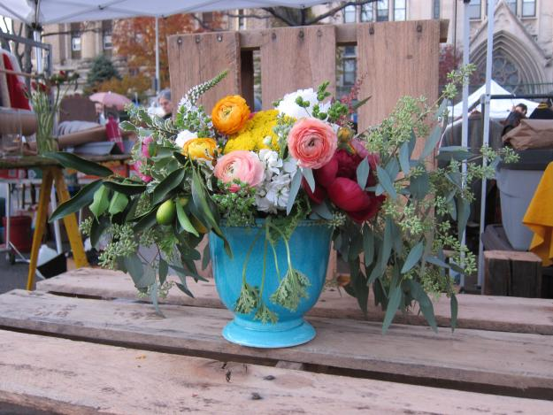Kat Flower arrangement at the Brooklyn Flea
