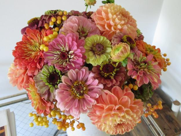 dahlias, zinnias, sunflowers