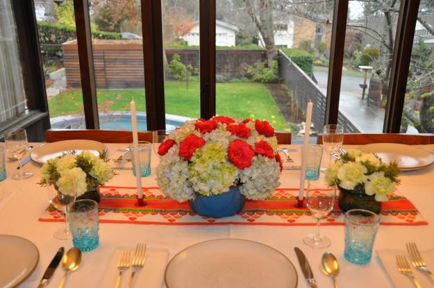 hydrangeas and roses tablescape