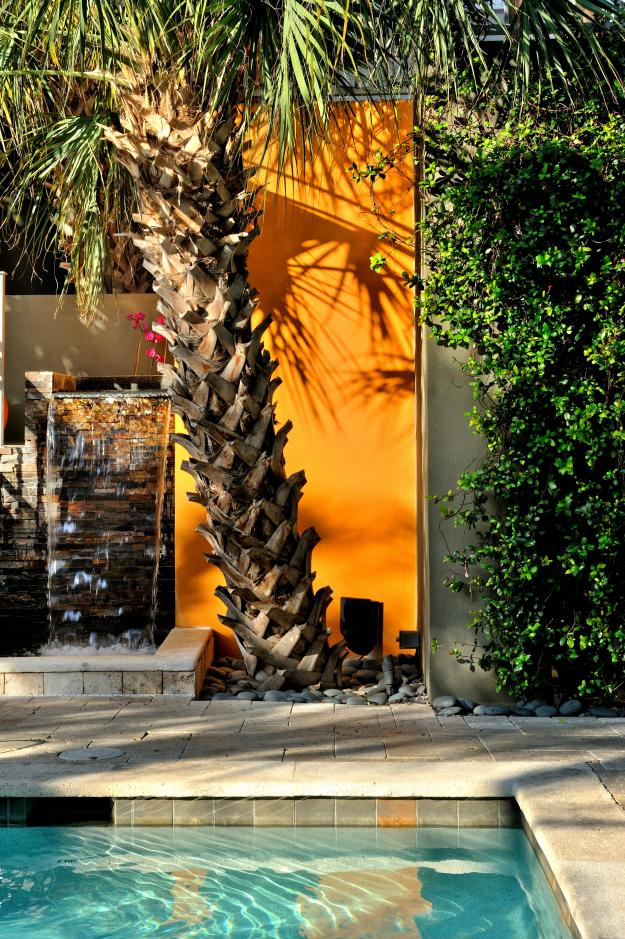 Sculptural Palm Tree Orange Wall